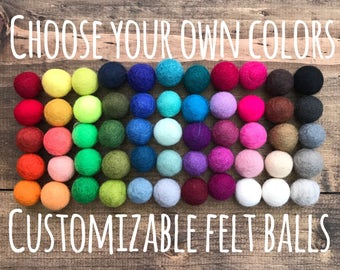 Choose Your Own Colors - 2cm Wool Felt Balls