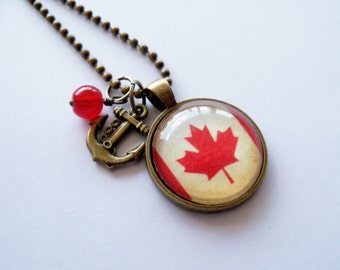 Canadian Flag - Pendant Necklace - Patriotic Jewelry - Custom Jewelry - Travel Necklace - You Choose Bead and Charm - Maple Leaf Flag
