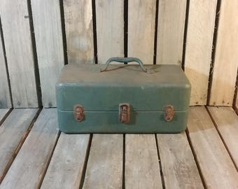 Metal Tackle Box, Old Tackle Box, Metal Fishing Box, Vintage Metal Box, Old Metal Box, Blue Tackle Box, Rusty Box