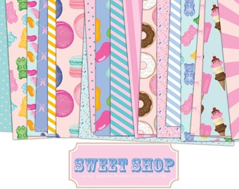 Sweet Shop 12 x 12 Digital Papers, gummy bears, donuts, jelly beans, macrons, stripes