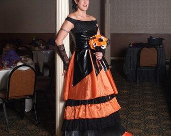 Orange and Black Wedding Dress Halloween Bridal Gown by Award Winning Bridal Salon in Teaneck, NJ
