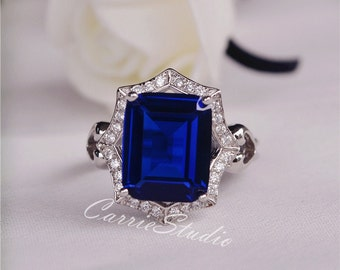 Lab Sapphire Ring Sapphire Engagement Ring/ Wedding Ring 925 Sterling Silver Ring Anniversary Ring