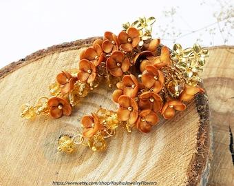 Cluster Stud Earrings Golden flowers Jewelry gold earrings Floral earrings Gold leaf Cluster earrings Long Statement earrings Bright gift