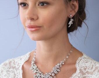 Floral Bridal Jewelry Set, Bridal Accessories, Wedding Jewelry Set, Swarovski Crystal Jewelry Set, Rhinestone & Crystal Jewelry Set ~JS-1654