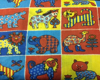 Zoo Print--Primary Colors 100% Cotton Fabric