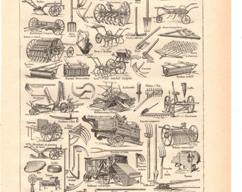Illustration vintage 'sepia' Agriculture' Dictionary French 1930 / Digital download
