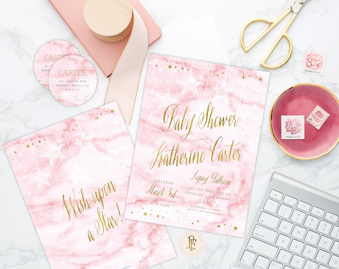 Wish upon a Star invitation - Star is Born invitation - Pink Marble baby shower invitation - Twinkle Twinkle little star invitation