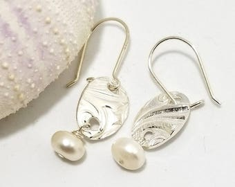 Sterling Silver(.925)Precious Metal Clay (PMC), adorned with cultured button pearls  #539