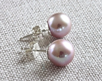 Pearl Stud Earrings, Freshwater Pearl Earrings, Pink Pearl Earrings, Silver Stud Earrings, Sterling Silver Jewelry, Quality Jewelry for Her