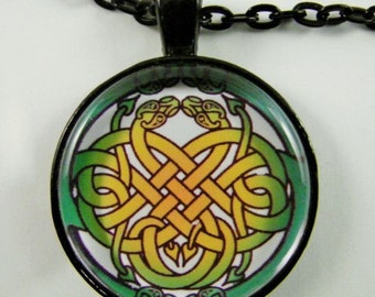 CELTIC SERPENT KNOT Necklace -- Celtic endless knot design with entwined snakes, Celtic animal totem for him or her, Modern Celtic art