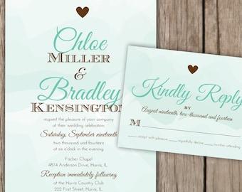 Wedding Invitation Set - Mint Green and Brown Watercolor Wedding Invitation, Mixed Fonts, Heart Wedding Invitation