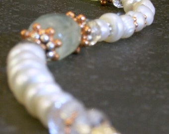 Freshwater Pearl Aventurine Copper and Sterling Silver Bracelet