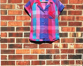 Pastel Plaid Top. Vintage, Colorful, Button-Down, Cotton Shirt