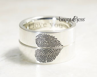 Heart Wedding band, unique wedding band set, fingerprint wedding ring set, you complete me wedding bands