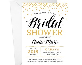 Bridal Shower Invitation, 5x7 Custom Invite with White Envelopes Included, Printed OR Digital