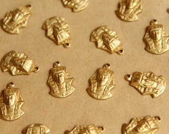 10 pc. Raw Brass King Tut / Pharoah Charms: 16mm by 11mm - made in USA | RB-813