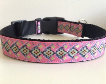 Pink and Yellow Aztec Print 1 inch Large Dog Collar