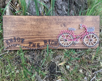 String Art Bicycle, Woodburned Art, Rustic Wall Decor, Gift for cyclists, Rustic Bicycle, Bicycle Art, Enjoy the ride, Unique Cycling Gift