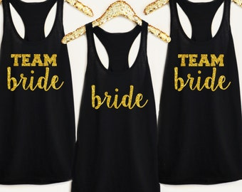 Pack of Team Bride and Bride Wedding Bachelorette Bridal Party Tank Tops or V-Necks