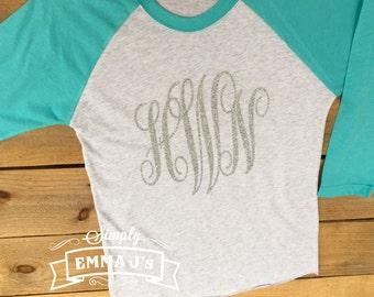 Baseball shirt, monogram shirt, women's shirt, glitter monogram, gift idea