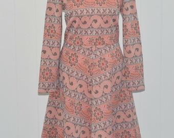 Classic 70's a-line floral dress vtg retro mod scooter 10