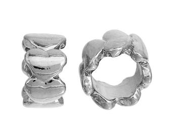 Silver brass beads matte hearts pattern