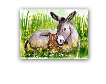 Donkey Foal Orange Tabby Cat Baby Nursery llmartin Original ACEO New Mom  Watercolor New Mom Free Shipping USA Child Children