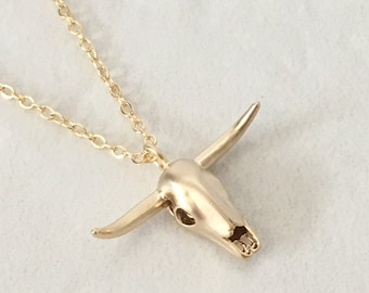 Longhorn Skull Necklace,Gold Longhorn Cow Necklace,Gold Longhorn Skull Necklace,Cowgirl Jewelry,Boho Jewelry,Gift for Her,SKU: NP143