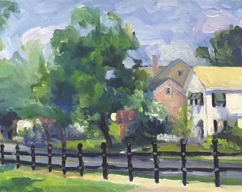 A View on Main Original Plein Air Landscape Oil Painting Framed
