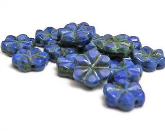 10mm - Flower Beads - Czech Picasso Beads - Blue Flower - Czech Glass Beads - Daisy Flower Beads - 15pcs (4259)