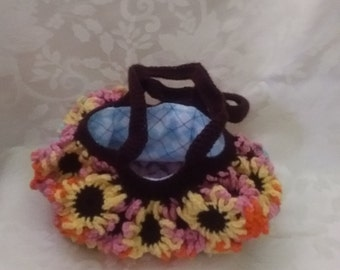 Crochet Satchel with Inner Lining Argyle Print