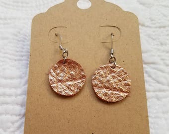 Genuine Leather Dot Earrings in Metallic Copper