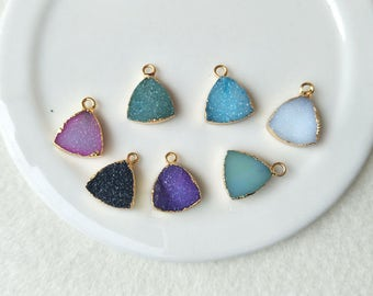 6 pcs 12mm Natural Druzy triangle pendant Gold Plated Rainbow Agate Druzy Geode Charm Druzy Charm Gemstone Pendant  Drusy  PD490