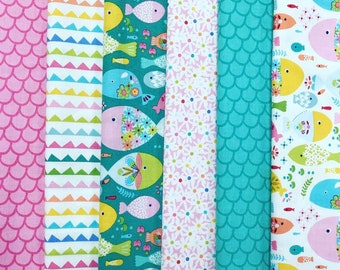Go Fish - 100% Cotton Fat Quarter Fabric Bundle