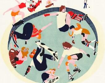 Skateboarders Print | FREE DELIVERY | Hannah Forward | Linocut | Linocut Print | Lino Print | Printmaking | Original Wall Art | Skate Print
