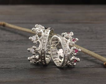 Crown engagement rings set, Couple crown rings, His and Hers crown rings, Crown wedding band set, Silver crown rings, Wide crown rings