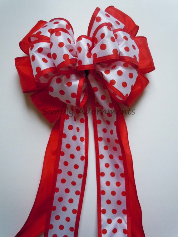 Red Dots Wreath bow July 4th Wreath bow Polka Dots Birthday Party Decor Red White Dots Wedding Pew Bow Door Wreath Bow Handmade Gifts Bow