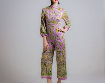 1960's Mod Purple Paisley Polyester Jumpsuit Small