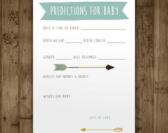 Predictions Baby Shower Game. Digital Printable Game. Adventure Arrows. Custom Baby Shower Stats Game. Arrow. Boho. Boy