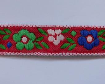 "Vintage Jacquard Ribbon Trim Tape~Multi petite Floral~red~blue~green~white~5/8"" wide"