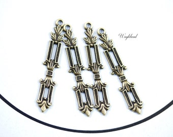Art Deco Style Column Leaves Antique Brass Drop Charms - 8