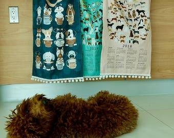 2018 Circle of Dogs Calendar or Puppies and Coffee Calendar Linen Cotton Tea Towel