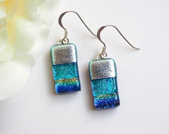 Blue Silver Fused Glass Earrings - Dichroic Glass Jewellery - Blue Fused Glass Earrings - Glass Jewellery - Fired Creations Glass - EE 724