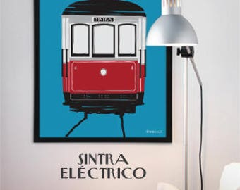 Sintra Tram Poster 70x50, Original Art, Portugal, Praia das Maças, Illustration, Portuguese Graphic Design