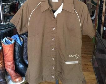 Vintage Women's Brown and Tan Bowling Shirt King Louie Bowling Shirt Size 36