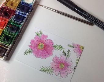 Cosmos Flower Painting, Pink Cosmos Painting,Floral painting, Aceo Flower Painting, Original Watercolour, Mini Flower Art, osmos Flower Art