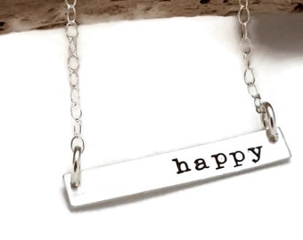 Happy Necklace - Bar Necklace - Sterling Silver Bar Necklace - Statement Necklace - Your Word Necklace - Hand Stamped - Christmas girl
