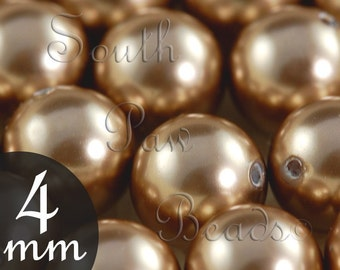 Bronze Swarovski glass pearls 4mm round beads (25)