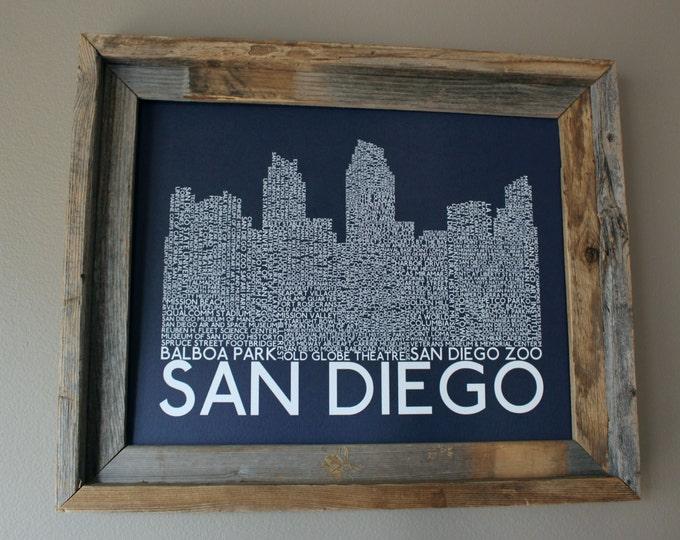 San Diego Skyline Word Art Print (Dark Blue) - Unframed