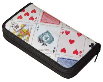 Large zip wallet playing cards, FREE SHIPPING, vintage zip wallet, vegan wallet, Credit Card Wallet, large zipper wallet